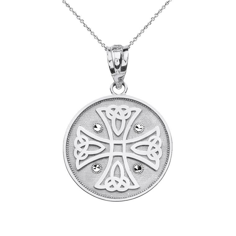 Sterling Silver Diamond Cut Celtic Knot Cross Disc Medallion Pendant Necklace