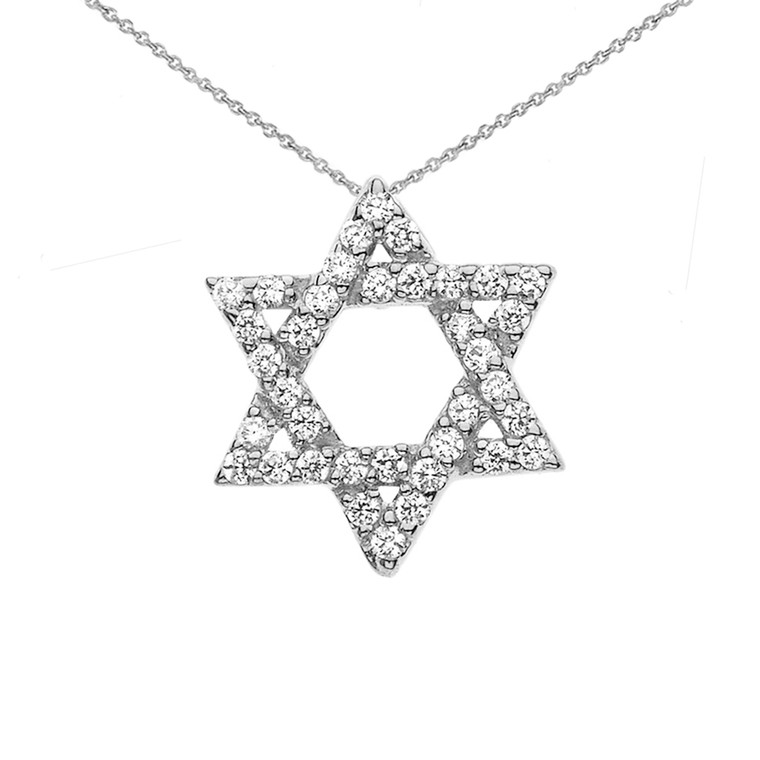 Jewish Star of David with Hidden Bail Pendant Necklace in WhiteGold