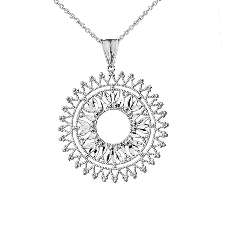 Handmade Designer Bohemian Statement Pendant Necklace in Sterling Silver