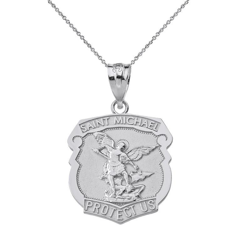 Sterling Silver Saint Michael Protect Us Shield Pendant Necklace