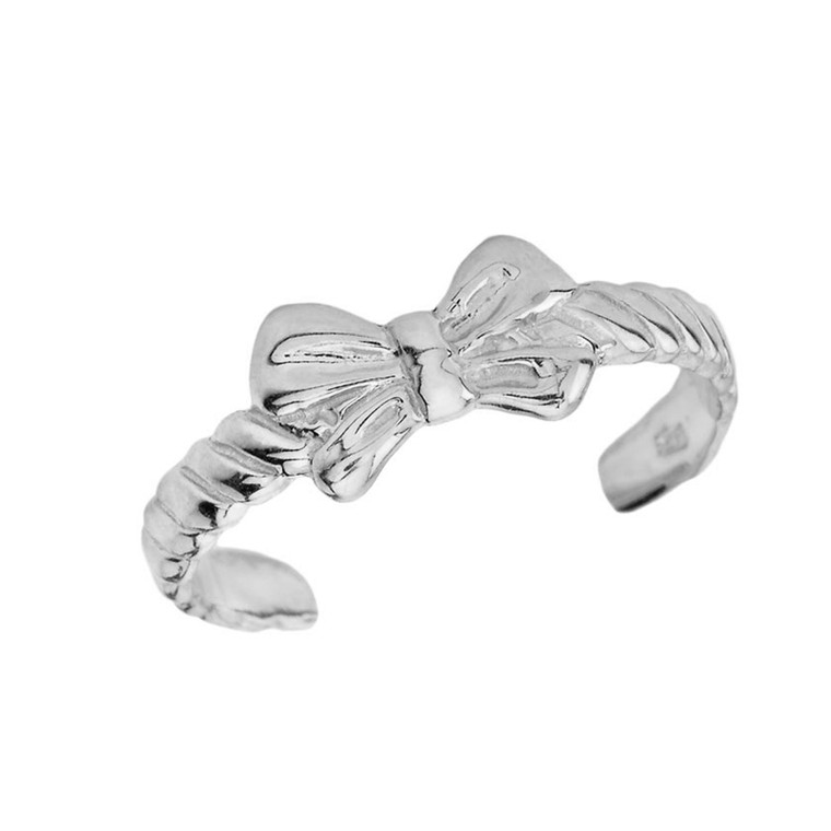 Bow Tie Toe Ring in White Gold