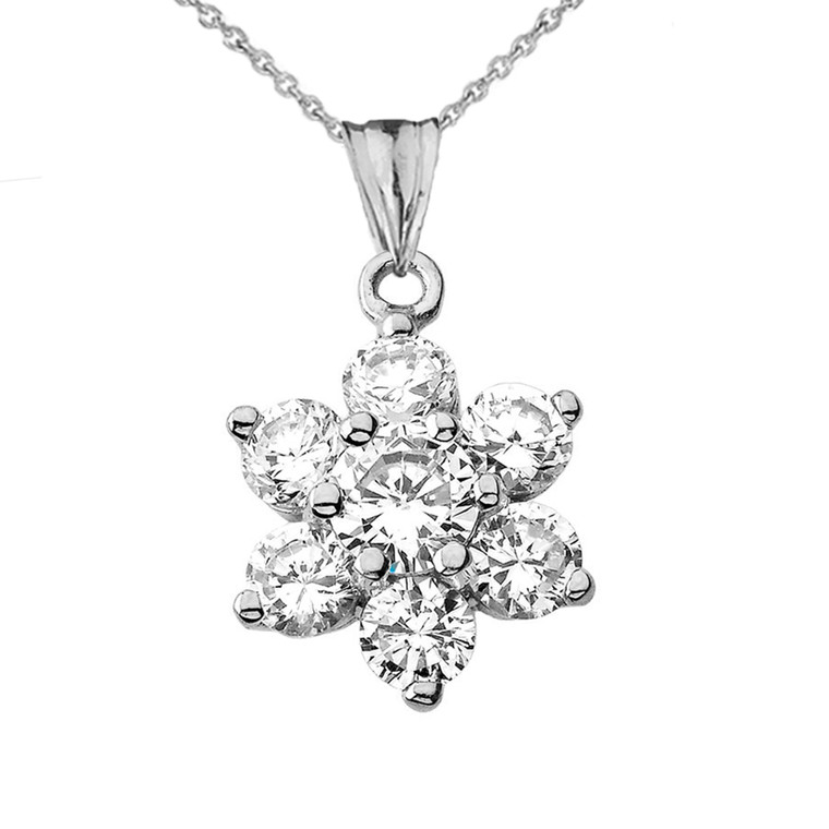 Elegant Dainty Cubic Zirconia Pendant Necklace in Sterling Silver