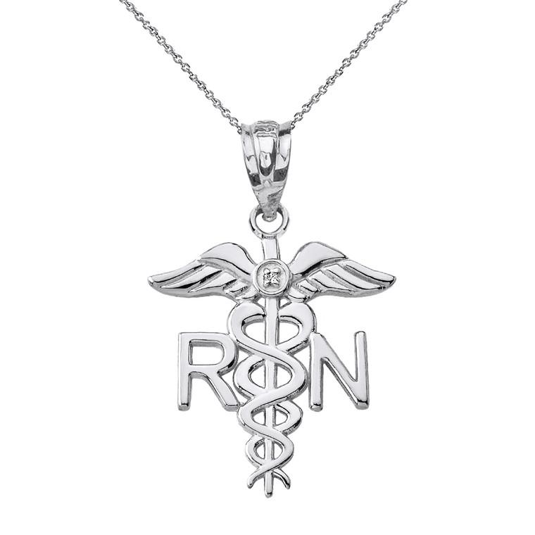 Sterling Silver CZ Registered Nurse Doctor Pendant Necklace