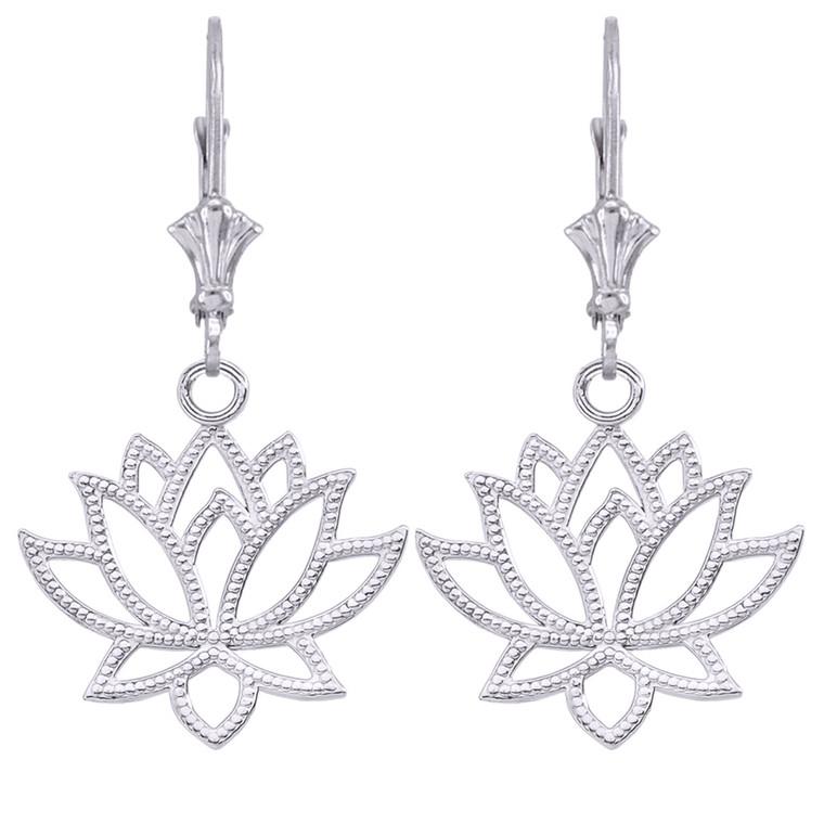 Lotus Flower Earrings in Sterling Silver