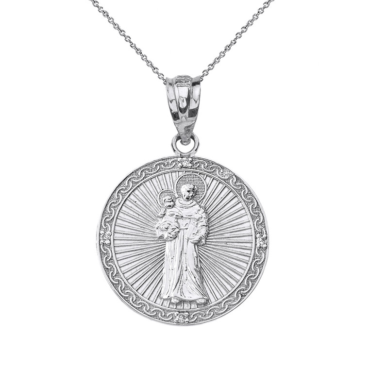 """Sterling Silver Engravable CZ Saint Anthony Pray For Us Circle Pendant Necklace 1.06"""""""