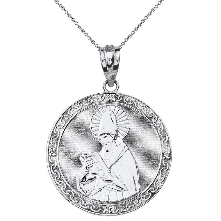 """Sterling Silver Engravable CZ Saint  Augustine Circle Pendant Necklace  1.17"""""""