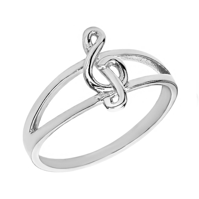 Solid White Gold Split Shank Treble Clef Note Ring