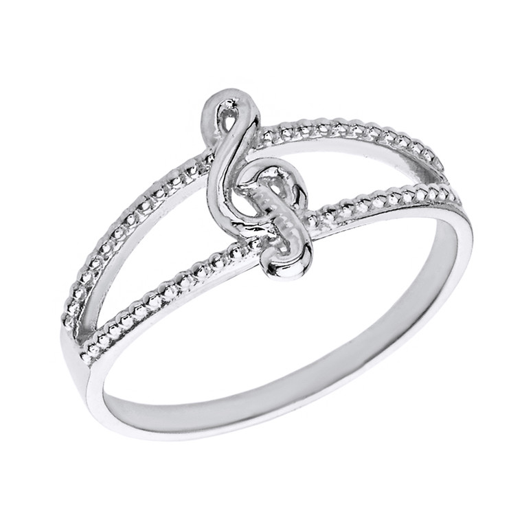 Solid White Gold Split Shank Textured Treble Clef Note Ring