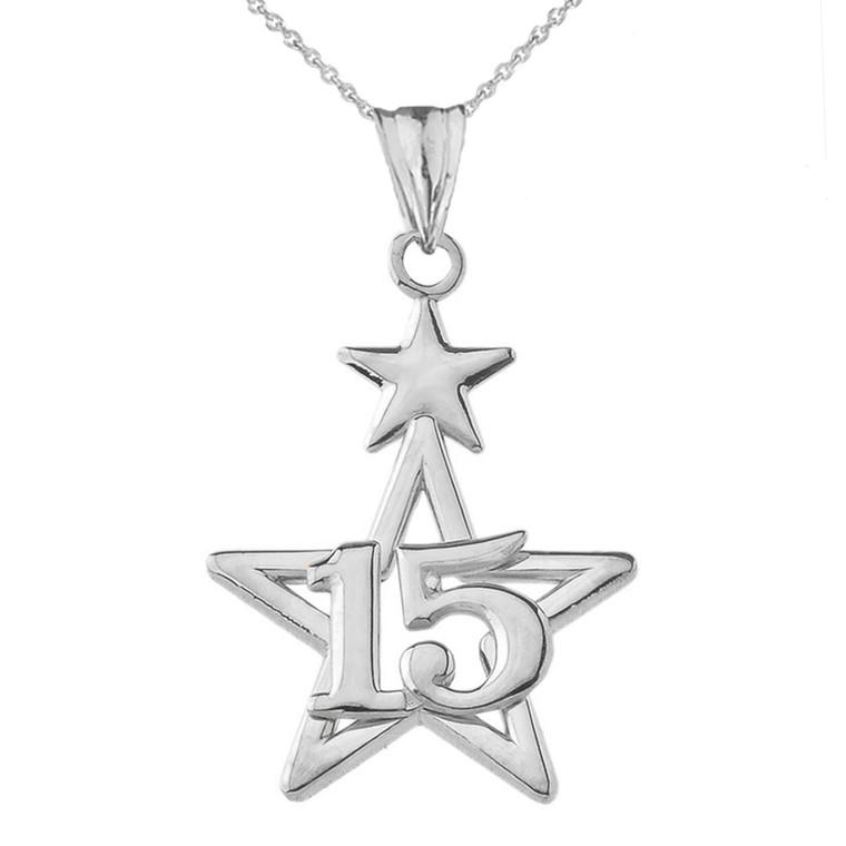 Dainty Quinceañera Star Pendant Necklace in Sterling Silver