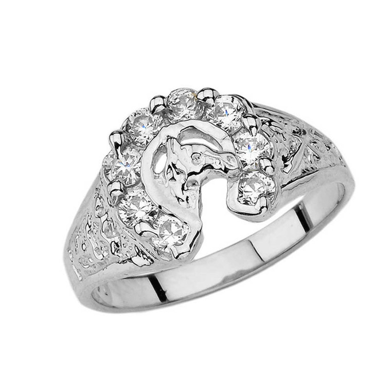 Lucky Horseshoe Ring in Sterling Silver with 1 CT C.Z