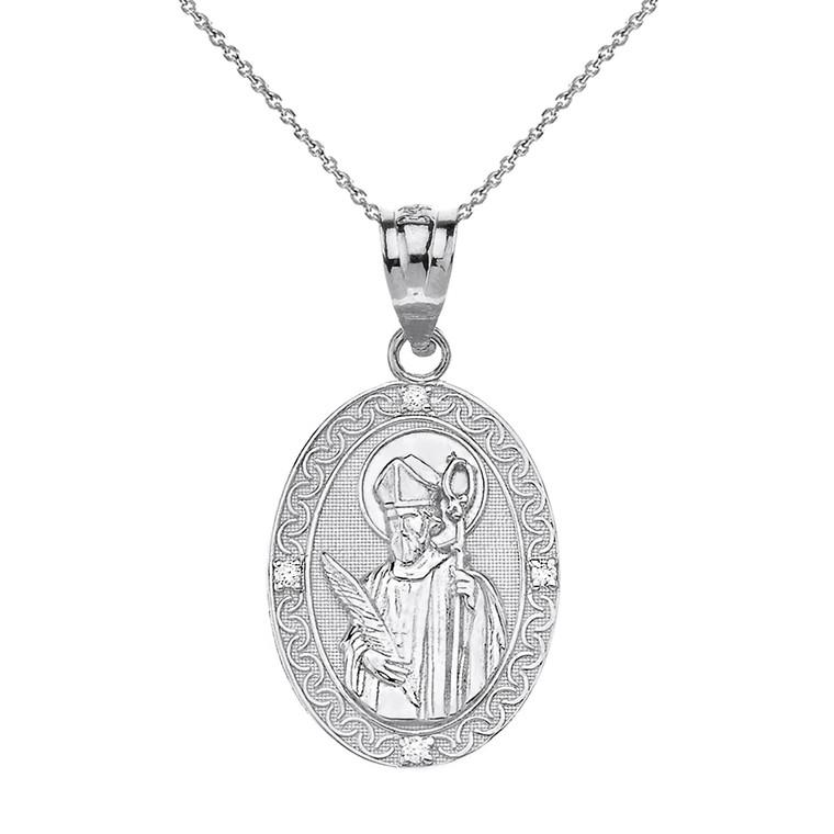 "Sterling Silver Engravable CZ Saint Valentine Pray For Us Oval Pendant Necklace  (1.04"")"