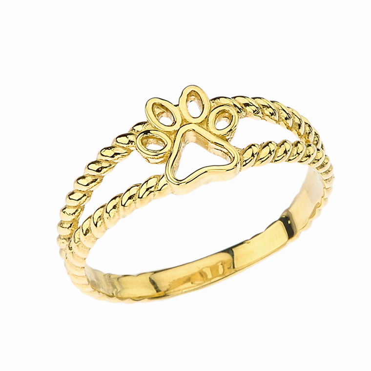 Openwork Dog Paw Ring in Yellow Gold