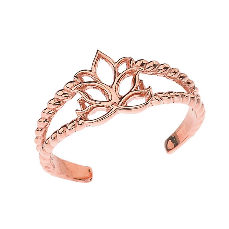 Lotus Flower Rope Toe Ring in Rose Gold
