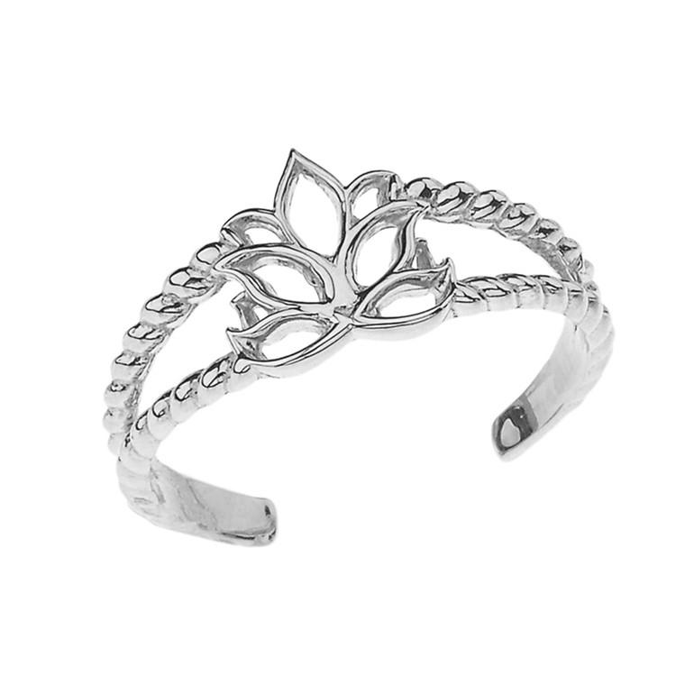 Lotus Flower Rope Toe Ring in White Gold