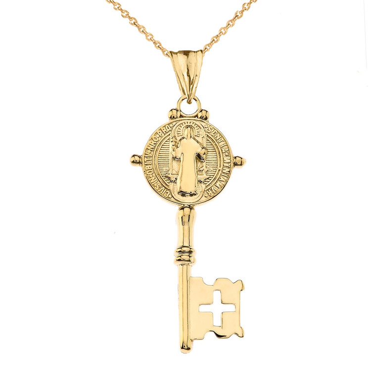 Saint Benedict Double Sided Cross Key Pendant Necklace in Yellow Gold
