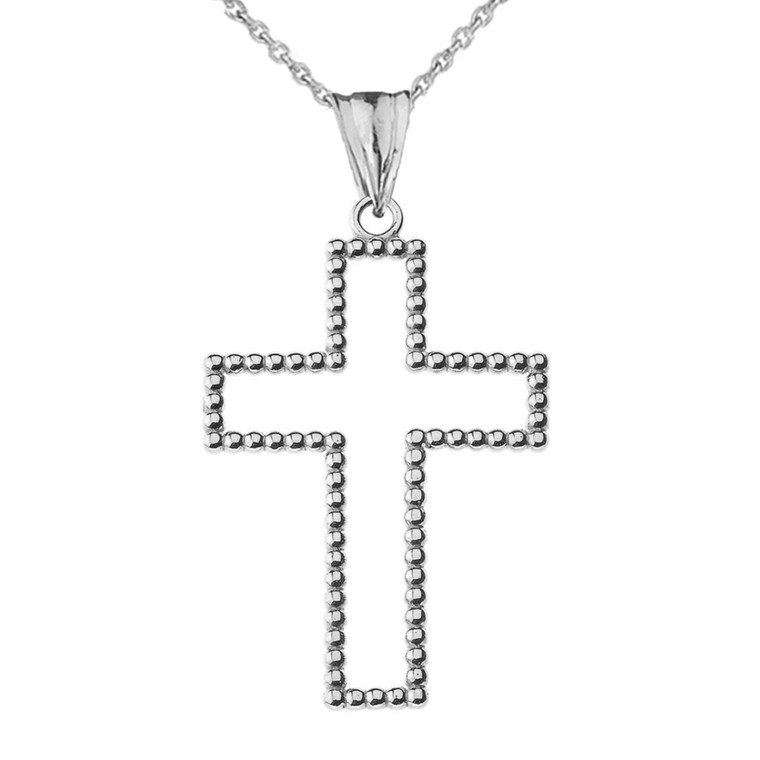 """Two Sided Beaded Open Cross Pendant Necklace in Sterling Silver (1.5"""") LG"""