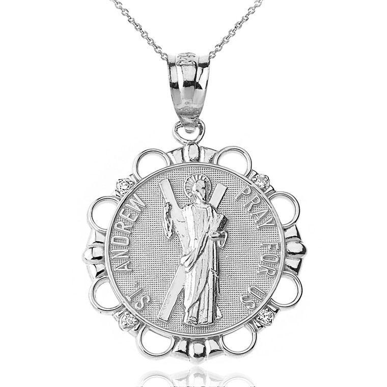 Sterling Silver CZ Saint Andrew Pray For Us Circle Pendant Necklace