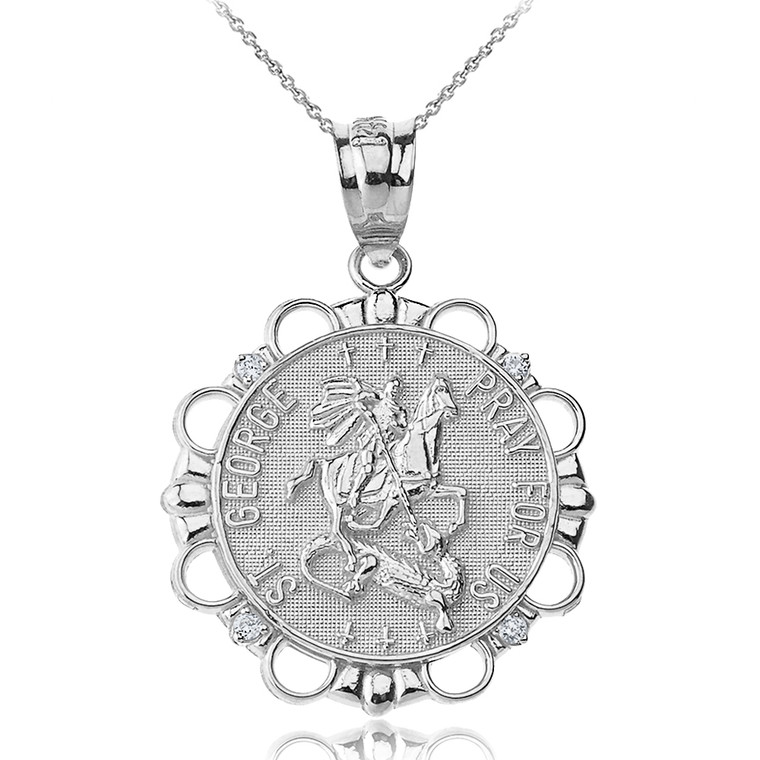 Sterling Silver CZ Saint George Pray For Us  Circle Pendant Necklace