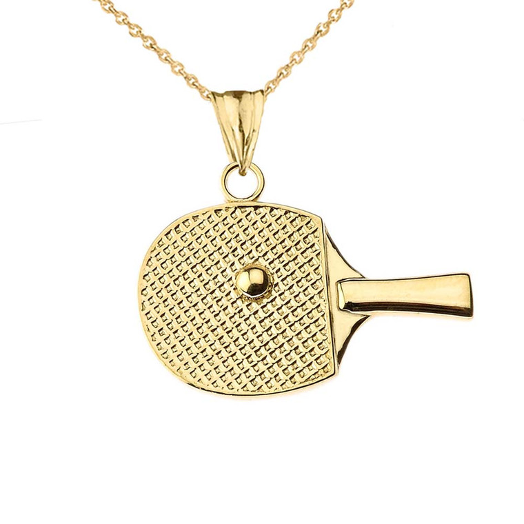 Table Tennis Racket Pendant Necklace in Yellow Gold