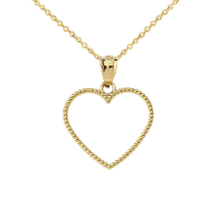 """Two Sided Beaded Open Heart Pendant Necklace in Yellow Gold (0.9"""")"""