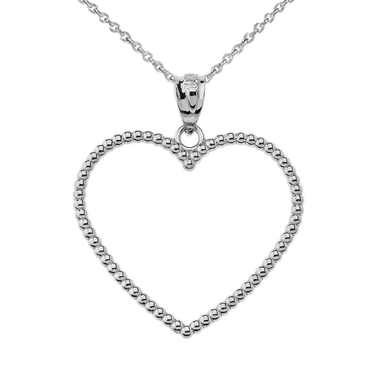 """Two Sided Beaded Open Heart Pendant Necklace in White Gold (1.1"""")"""