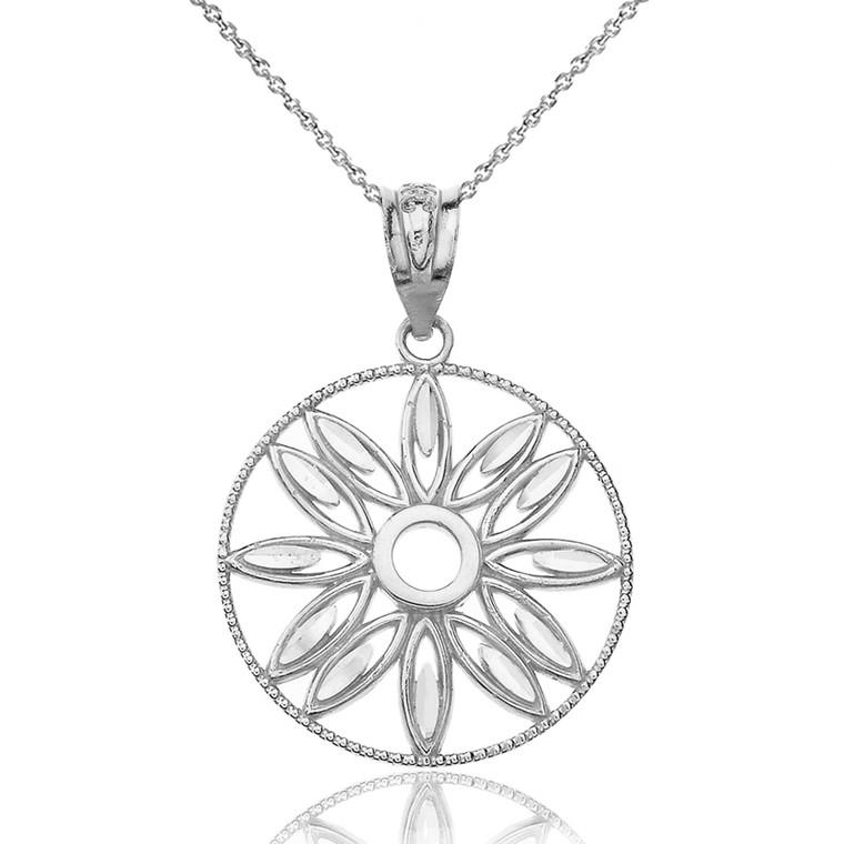 Solid White Gold Sparkle Cut Floral Design Round Pendant Necklace