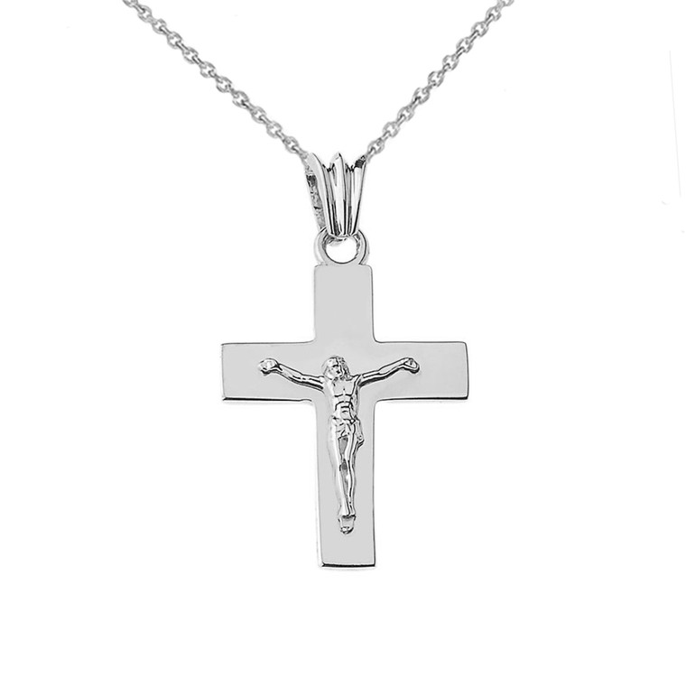 """Solid Crucifix in Sterling Silver (1.3"""")"""