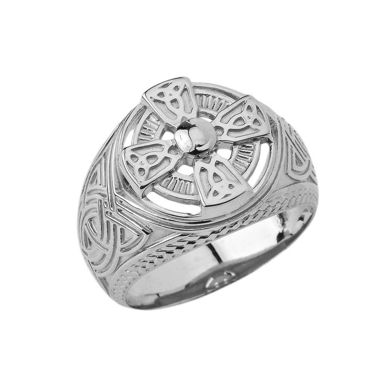 Mens Celtic Trinity Knot Ring in White Gold