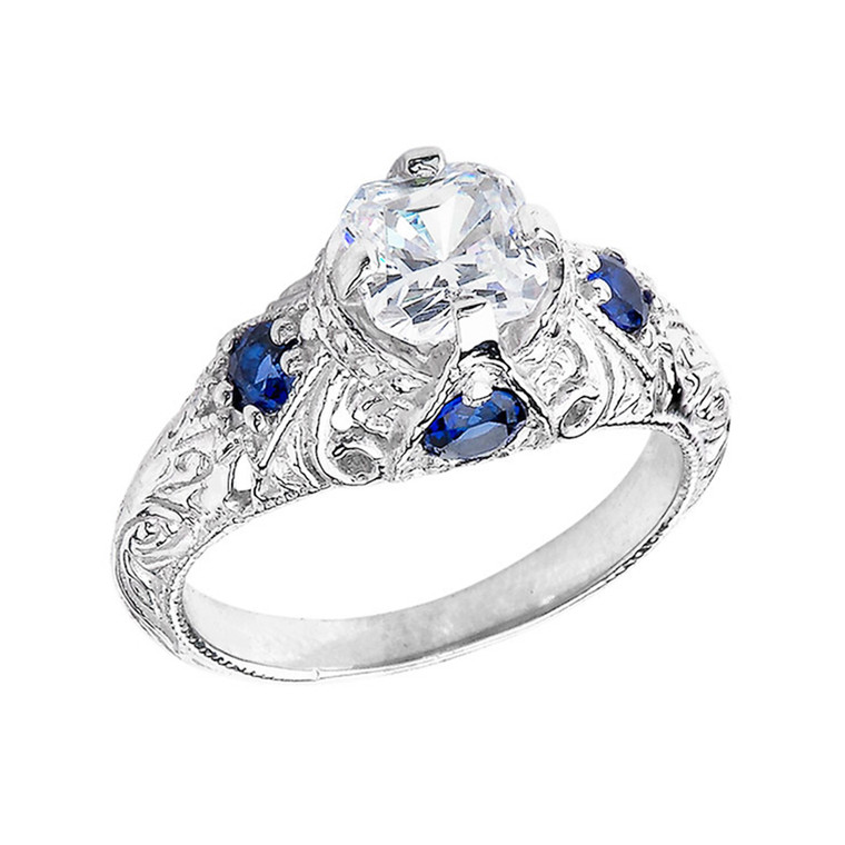 Art Deco Blue & White CZ Engagement Ring in Sterling Silver