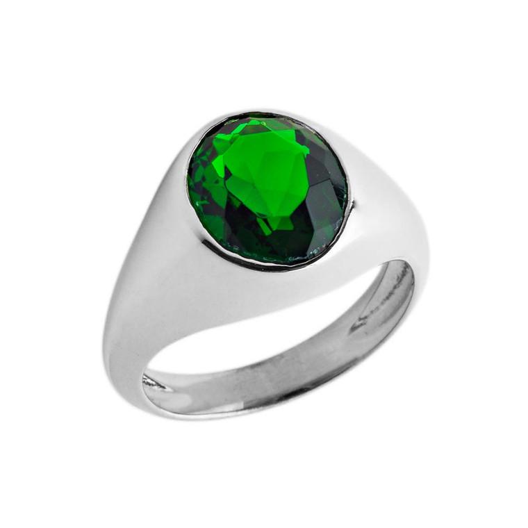 May Birthstone Gentleman's Pinky Ring  in Sterling Silver