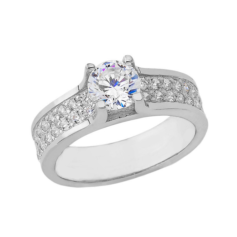 Bold-Chic Engagement Ring in White Gold
