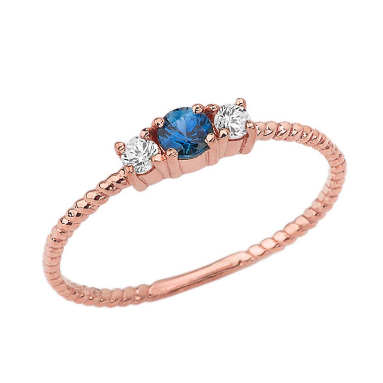 Chic Genuine Sapphire & White Topaz Roped Ring in Rose Gold