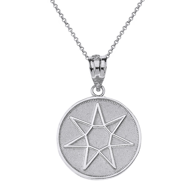 Sterling Silver Wiccan Heptagram Faery Star Circle Pendant Necklace