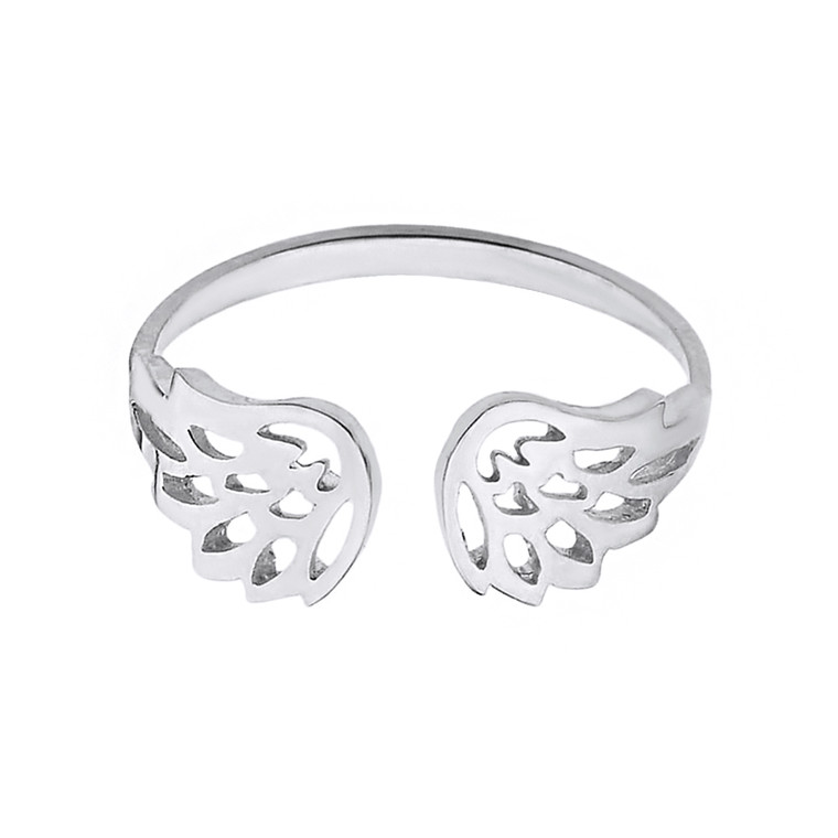 Solid White Gold Dainty Filigree Angel Wings Adjustable Ring