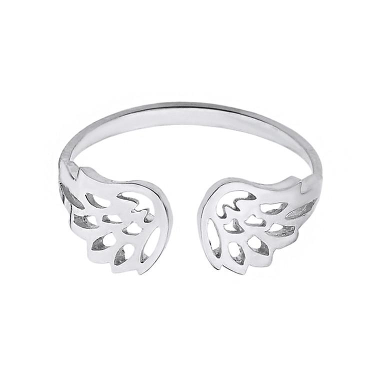 Sterling Silver Dainty Filigree Angel Wings Adjustable Ring