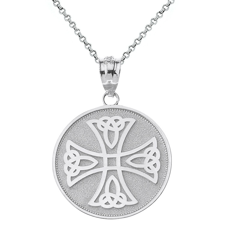 Sterling Silver Infinity Knot Celtic Cross Disc Pendant Necklace