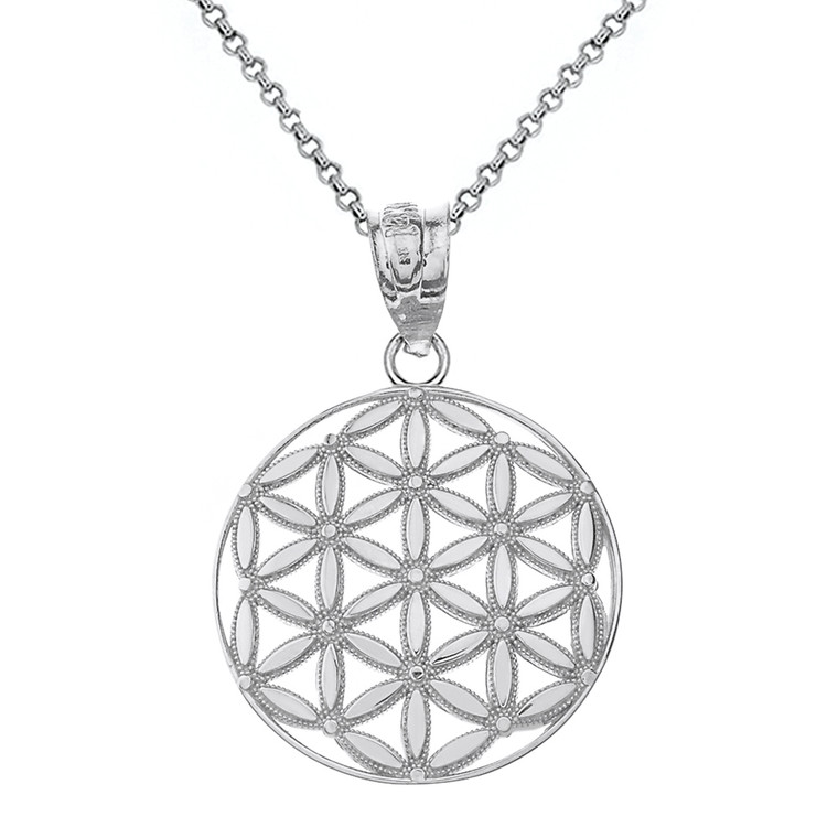 Sterling Silver Flower of Life Sacred Geometry Pendant Necklace