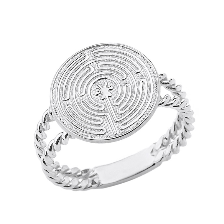 Sterling Silver Chartres Prayer and Mediation Labyrinth Twisted Band Ring