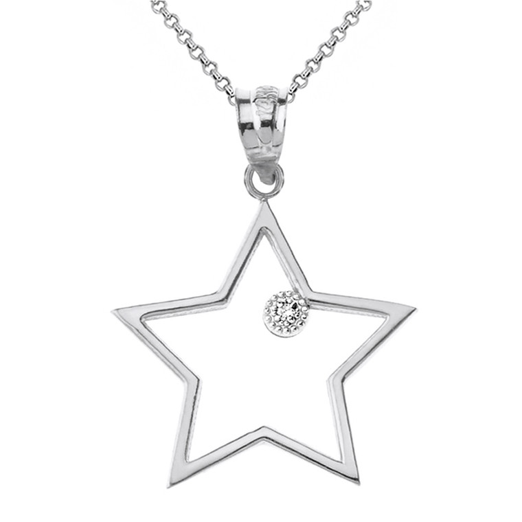 Solid White Gold Star Outline Solitaire Pendant Necklace