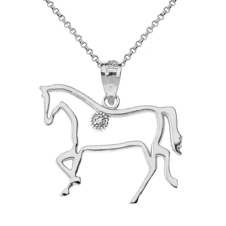 Solid White Gold Horse Outline Solitaire Equestrian Pendant Necklace