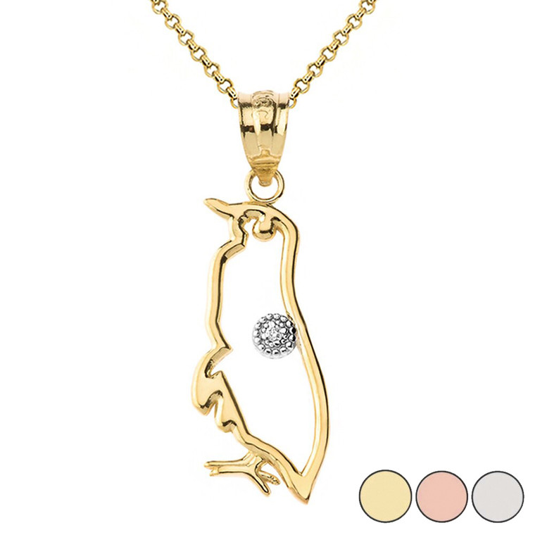 Gold Penguin Outline Solitaire Pendant Necklace in Gold (Yellow/Rose/White)