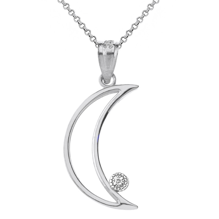 Solid White Gold Crescent Moon Outline Solitaire Pendant Necklace