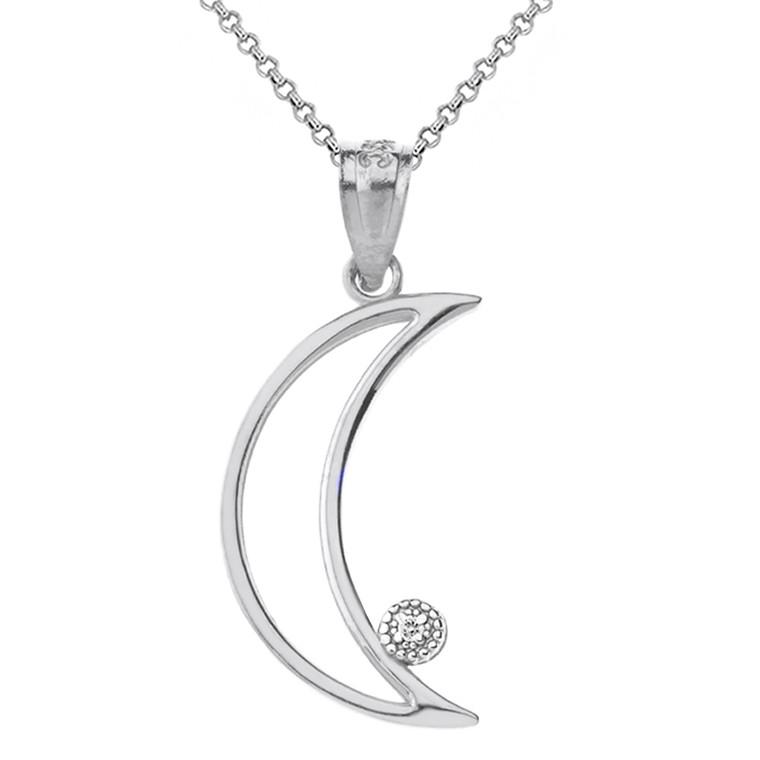 Sterling Silver Crescent Moon Outline CZ Pendant Necklace