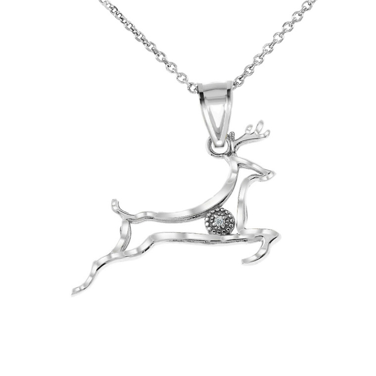 Diamond Running Deer Pendant Necklace in White Gold