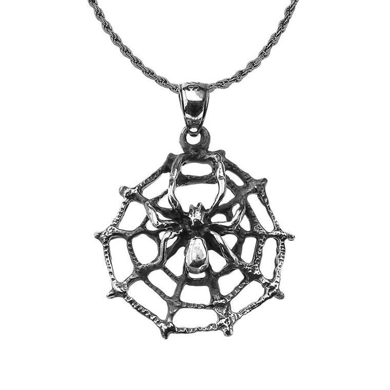 Oxidized Spider Web Charm Pendant Necklace in Sterling Silver