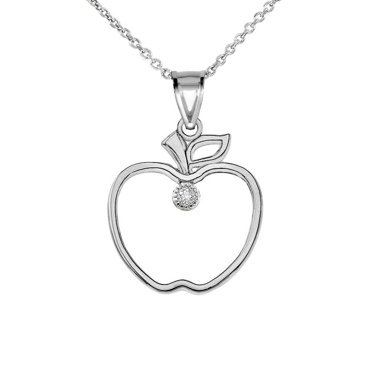 Diamond Outline Apple Pendant Necklace in White Gold