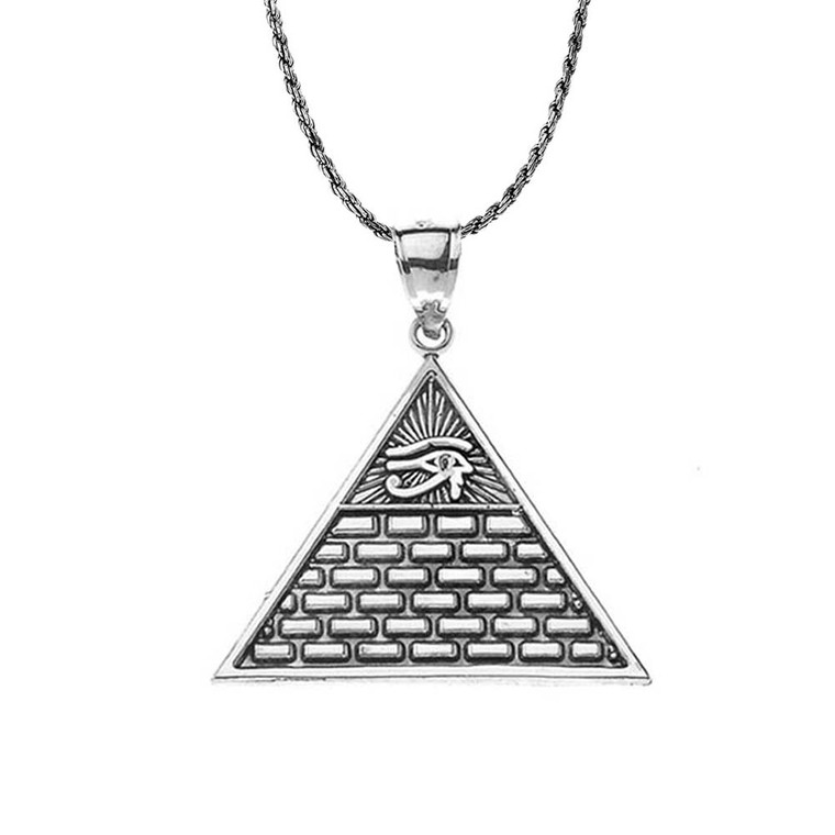 Oxidized Horus Pyramid Pendant Necklace in Sterling Silver