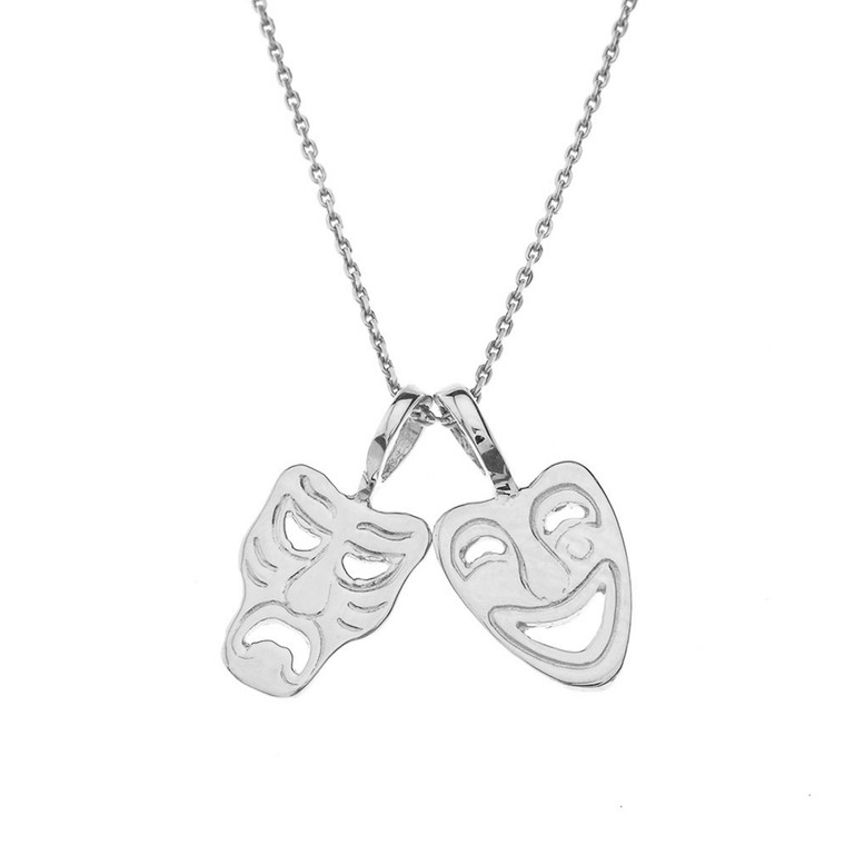 Comedy & Tragedy Masks (Sock & Buskin) Pendant Necklace in White Gold