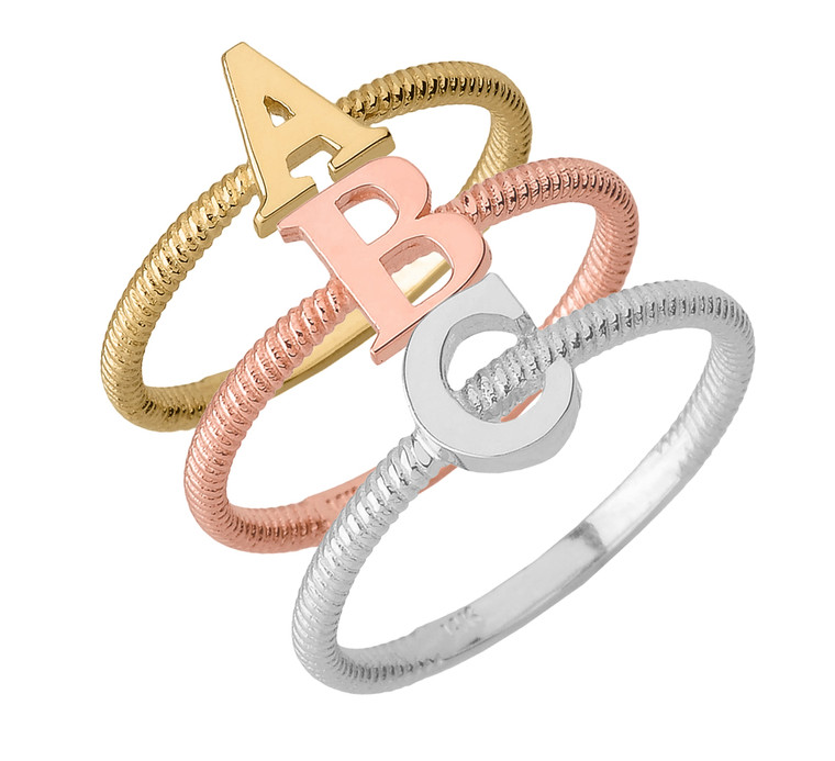 """Alphabet Initial Letter """"A-Z"""" Stackable Ring (Available in Gold & Silver)"""