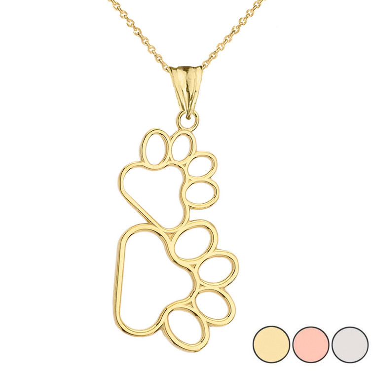 Dog Paw Outline Pendant Necklace in Gold (Yellow/Rose/White)